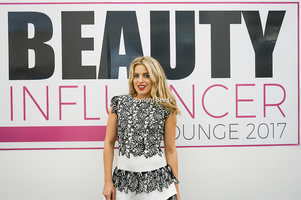 Olympia London, London, England, UK. Olivia Cox   TV Presenter & Blogger Olivia Cox's attend The Olympia Beauty show at Kensington Olympia in London on 1st October 2017.