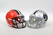 A view of Cleveland Browns and Oakland Raiders helmets on Thursday, November 2, 2017. (Kirby Lee via AP)
