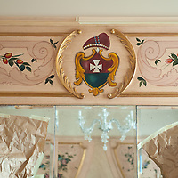 A detailed design in one of the newly refurbished suites of Gritti Hotel..Several major restoration works are being carried out in this period in Venice, the go to a complete refurbishment of the famous Gritti Palace Hotel, to transformation into a luxury VIP 7 stars hotel of XV century Palazzo Papadopoli to the restoration of the Church of the Gesuiti