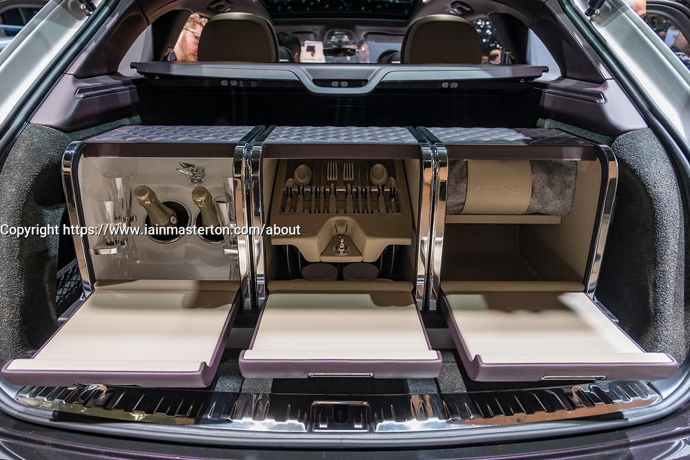 Bentley Bentagya SUV Mulliner luxury special edition with drinks and picnic compartment at 87th Geneva International Motor Show in Geneva Switzerland 2017