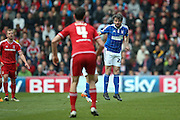 Ipswich Town midfielder Jonathan Douglas (22)  clears the ball during the Sky Bet Championship match between Middlesbrough and Ipswich Town at the Riverside Stadium, Middlesbrough, England on 23 April 2016. Photo by Simon Davies.