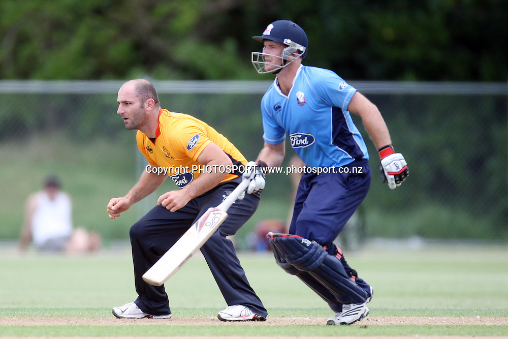 Luke Woodcock and Gareth Hopkins. Men's one day cricket, Auckland Aces v Wellington Firebirds, Colin Maiden Park, Auckland. Wednesday 12 January 2011. Photo: Ella Brockelsby/photosport.co.nz