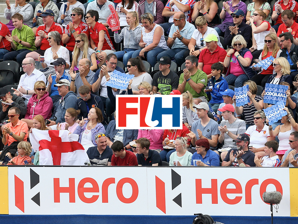 LONDON, ENGLAND - JUNE 25: Supporters celebrate England goal during the 3rd/4th place match between Malaysia and England on day nine of the Hero Hockey World League Semi-Final at Lee Valley Hockey and Tennis Centre on June 25, 2017 in London, England. (Photo by Steve Bardens/Getty Images)