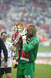 WIGAN, ENGLAND - Sunday, May 11, 2008: Manchester United's goalkeeper Tomasz Kuszczak celebrates after winning the Premier League for the 10th time after the final Premiership match of the season at the JJB Stadium. (Photo by David Rawcliffe/Propaganda)