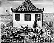 Jesuit Missionaries in Siam projecting image of a solar eclipse through telescope onto white surface, astounding the King and his court. From 'Voyages due Royaume de Siam', 1688.