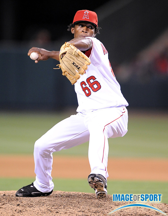 May 26, 2008; Anaheim, CA, USA; Los Angeles Angels reliever Jose Arredondo (66) pitches during 1-0 victory in 12 innings against the Detroit Tigers at Angel Stadium. Mandatory Credit: Kirby Lee/Image of Sport-US PRESSWIRE