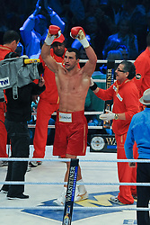 02.07.2011, Imtech Arena, Hamburg, GER, WM Fight IBF, IBO and WBO world champion Wladimir Klitschko vs WBA champion David Haye, im Bild Sieger Wladimir Klitschko jubelt. // during the WM fight between Wladimir Klitschko and David Haye, in the Imtech Arena, Hamburg, 2011/07/02. .EXPA Pictures © 2011, PhotoCredit: EXPA/ nph/  Witke       ****** out of GER / CRO  / BEL ******