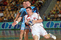 Milan Kozak of Slovakia and Ales Pajovic at  handball game between men national teams of Slovenia and Slovakia, first qualification game for the World Chamionship 2009, on June 7, 2008, in Arena Zlatorog, Celje, Slovenija. Result: 33 : 33. (Photo by Vid Ponikvar / Sportal Images)