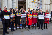 A number of Labour MPs, join Mark Serwotka, Fran Heathcote and Francis O'Grady and workers of Interserve, the cleaning contractors for the Foreign and Commonwealth Office FCO who are striking for better working conditions and union recognition on the 11th of February 2020 in Westminster, London, United Kingdom. (photo by Andy Aitchison / PCS)