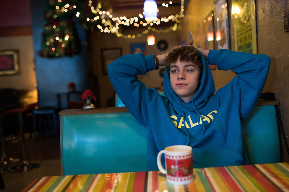 Christian Akridge hangs out at his favorite local coffee shop in Wichita Falls, Texas on November 18, 2015.  (Cooper Neill for Rolling Stone)