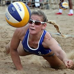 BLOEMFONTEIN, SOUTH AFRICA - DECEMBER 11: Taru Lahti of Finland in the match between Katarina Schillerwein and Cinja Tillmann of Germany vs Riikka Lehtonen and Taru Lahti of Finland during Day 3 of the FIVB Mangaung Open on December 11, 2014 in Bloemfontein, South Africa.  (Photo by Steve Haag/Getty Images for FIVB)