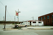 A pick-up truck parked in front of a bar on the edge of town in Beardstown, Illinois