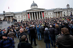 UK ENGLAND LONDON 16JAN10 - Photographers demonstrate in Trafalgar Square, central London against excessive police stop and search powers. Several high profile cases involving the use of anti-terrorist legislation to deter and detain photographers working in public spaces have triggered the 'I'm a photographer, not a terrorist' campaign...jre/Photo by Jiri Rezac..© Jiri Rezac 2010