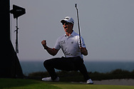 Brandon Stone (RSA) celebrates after making a birdie on the 18th to go to -13 during Round 4 of the Oman Open 2020 at the Al Mouj Golf Club, Muscat, Oman . 01/03/2020<br /> Picture: Golffile   Thos Caffrey<br /> <br /> <br /> All photo usage must carry mandatory copyright credit (© Golffile   Thos Caffrey)