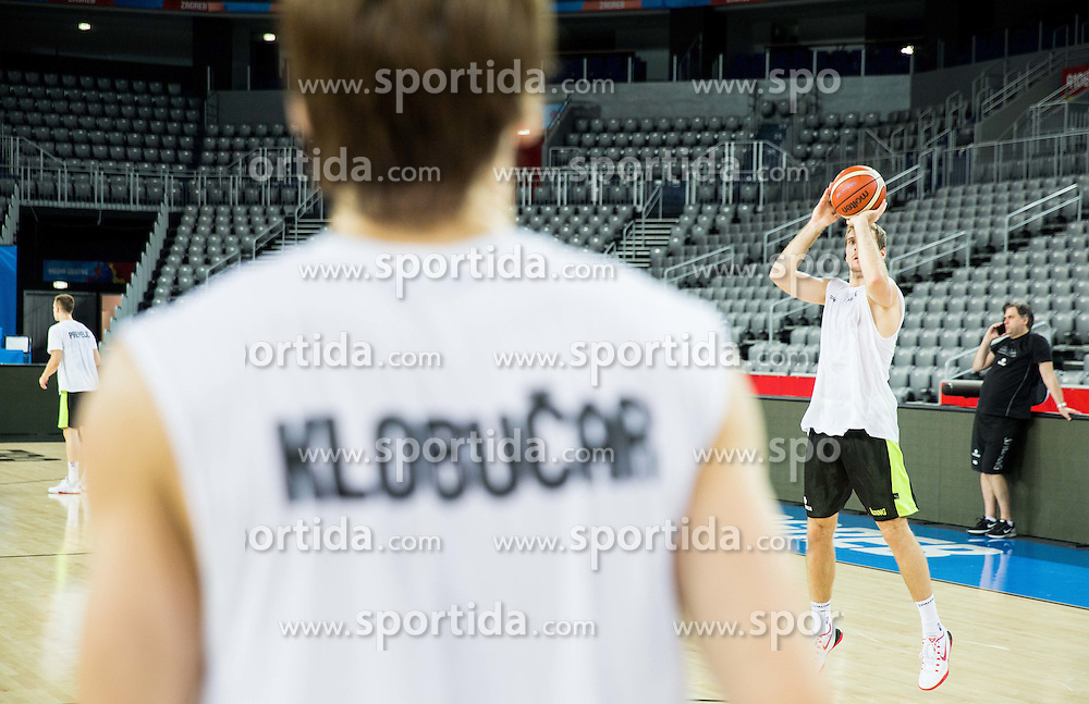 Jaka Klobucar and Zoran Dragic during practice session of Slovenia National Basketball Team 1 day prior to the FIBA Europe Eurobasket 2015, on September 4, 2015, in Arena Zagreb, Croatia. Photo by Vid Ponikvar / Sportida