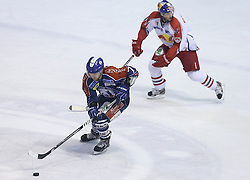 24.02.2013, Dom Sportova, Zagreb, CRO, EBEL, KHL Medvescak Zagreb vs EC Red Bull Salzburg, Playoff best of seven, 1. Runde, im Bild. Adam Naglich, Mark Cullen // during the Erste Bank Icehockey League playoff best of seven 1st round match between KHL Medvescak Zagreb and EC Red Bull Salzburg at the Dom Sportova, Zagreb, Croatia on 2013/02/24. EXPA Pictures © 2013, PhotoCredit: EXPA/ Pixsell/ Marko Lukunic..***** ATTENTION - for AUT, SLO, SUI, ITA, FRA only *****