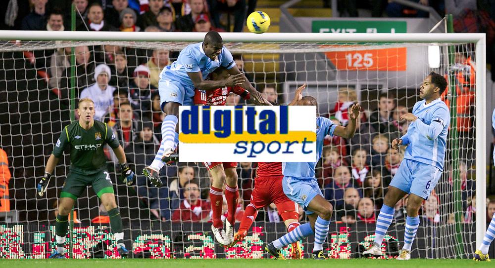 20111127: LIVERPOOL, ENGLAND - <br /> FC Liverpool vs Manchester City: English Premier League 2011/2012.<br /> In photo: Jose Enrique in action against Manchester City's Micah Richards.<br />  PHOTO: CITYFILES