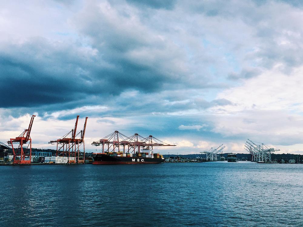 Arriving in Seattle, Washington on the Washington State Ferry.