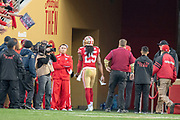 December 23, 2018; Santa Clara, CA, USA; San Francisco 49ers cornerback Richard Sherman (25) walks off the field after being ejected during the fourth quarter against the Chicago Bears at Levi's Stadium.