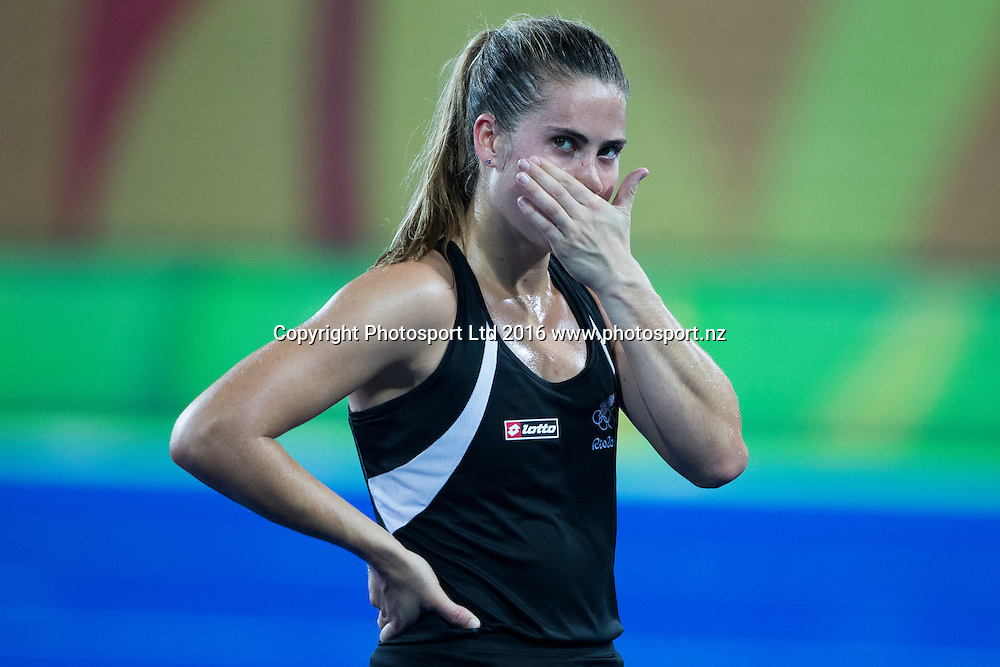 A dejected Rose Keddell after the loss. New Zealand. New Zealand Blacksticks women v Great Britain, Olympic hockey Semi Final Olympic Rowing,  Rio Olympics Games 2016, Rio de Janeiro. Wednesday 17 August, 2016. Copyright photo: John Cowpland / www.photosport.nz