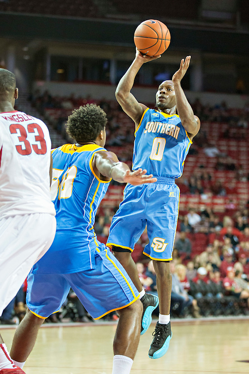 FAYETTEVILLE, AR - NOVEMBER 13:  Christopher Hyder #0 of the Southern University Jaguars shoots a jump shot during a game against the Arkansas Razorbacks at Bud Walton Arena on November 13, 2015 in Fayetteville, Arkansas.  The Razorbacks defeated the Jaguars 86-68.  (Photo by Wesley Hitt/Getty Images) *** Local Caption *** Christopher Hyder