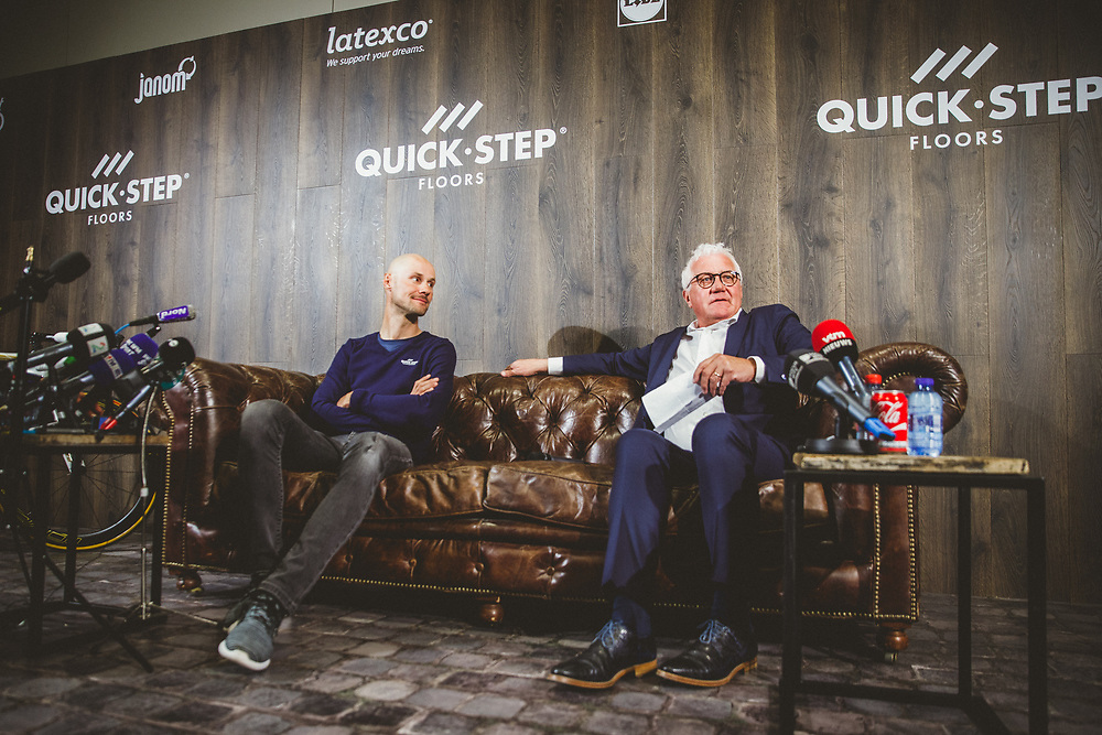 Tom Boonen and the Quick-Step Floors Paris-Roubaix squad meet the press in advance of Tom's last ride in Sunday's Paris-Roubaix race before his retirement from procycling. Photo: Iri Greco / BrakeThrough Media   www.brakethroughmedia.com