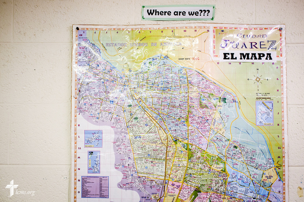 A map of Ciudad Juarez and El Paso, Texas, on Friday, May 20, 2016, at  Ysleta Lutheran Mission Human Care in El Paso, Texas. LCMS Communications/Erik M. Lunsford