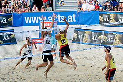 Players in action at A1 Beach Volleyball Grand Slam tournament of Swatch FIVB World Tour 2010, on July 31, 2010 in Klagenfurt, Austria. (Photo by Matic Klansek Velej / Sportida)