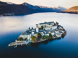 January 2, 2018 - Orta San Giulio, Novara, Italy - Aerial pictures of the Isola di San Giulio (St Julius island) at the Lago d'Orta (lake Orta) at sunset. (Credit Image: © Alessandro Bosio/Pacific Press via ZUMA Wire)