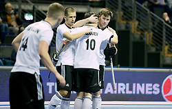 BERLIN - Indoor Hockey World Cup<br /> Men: Russia - South Africa<br /> foto: Russia celebrates.<br /> COPYRIGHT WILLEM VERNES