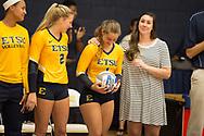 September 19, 2017 - Johnson City, Tennessee - Brooks Gym: ETSU setter Lexie Libs (2), ETSU defensive specialist Hailey Aguilar (1), Emily Orrick<br /> <br /> Image Credit: Dakota Hamilton/ETSU