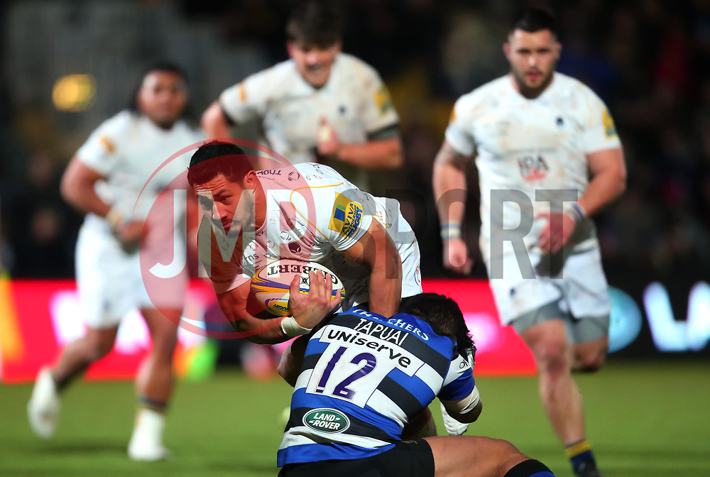 Alafoti Faosiliva of Worcester Warriors is tackled - Mandatory by-line: Robbie Stephenson/JMP - 05/01/2018 - RUGBY - Sixways Stadium - Worcester, England - Worcester Warriors v Bath Rugby - Aviva Premiership