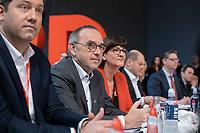 06 DEC 2019, BERLIN/GERMANY:<br /> Norbert Walter-Borjans (R), SPD, Minister a.D., Kandidat fur das Amt des Parteivorsitzenden, Saskia Esken (L), MdB, SPD, Kandidatin fuer das Amt der Parteivorsitzenden, SPD Bundesprateitag, CityCube<br /> IMAGE: 20191206-01-005<br /> KEYYWORDS: Party Congress, Parteitag