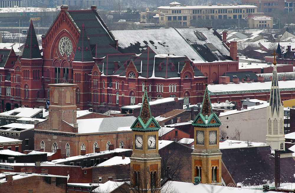 Snowy Music Hall and rooftops