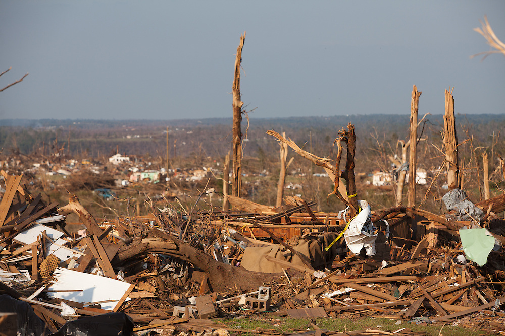 Destoryed landscape in Holt Alabama after being hit by a tornado . Holt a suburb of Tuscaloosa was hit by  F-4 and  possibly  F-5 tornado that were part of a storm  of an estimated 300 that struck Alabama and the neighboring states on April 27th , 2011.