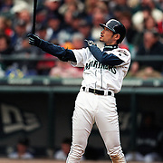 Seattle Mariners Ichiro Suzuki performs the ritual stance every time he bats during a game.