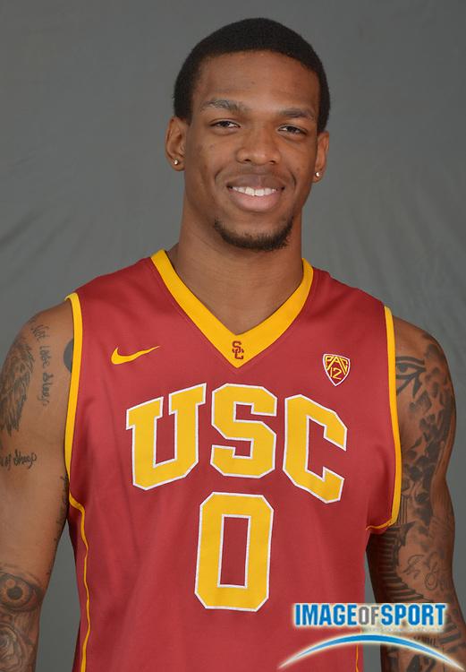 Sep 25, 2015; Los Angeles, CA, USA: Southern California Trojans forward Darion Clark (0) poses at media day at the Galen Center.