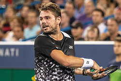 August 17, 2018 - Mason, OH, U.S. - CINCINNATI, OH - AUGUST 17:   Stan Wawrinka of Switzerland returns the ball to Roger Federer of Sweden during Day 6 of the Western and Southern Open at the Lindner Family Tennis Center on August 17, 2018 in Mason, Ohio. (Photo by Shelley Lipton/Icon Sportswire) (Credit Image: © Shelley Lipton/Icon SMI via ZUMA Press)