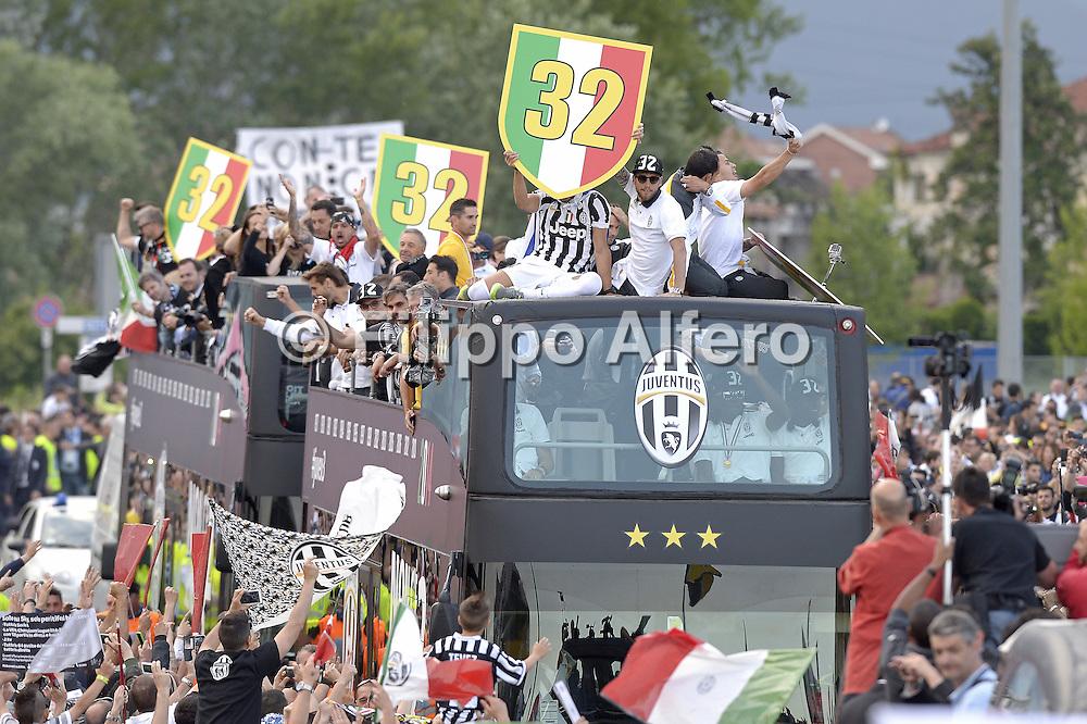 &copy; Filippo Alfero<br /> Parata bus Juventus per festeggiare lo scudetto<br /> Torino, 18/05/2014<br /> sport calcio<br /> Nella foto: