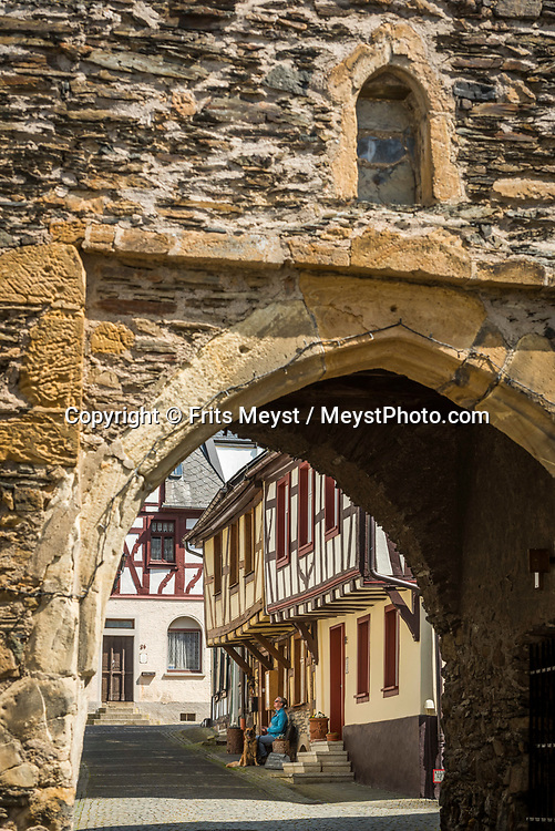 Herrstein, Nahetal, Germany, May 2018. Traditional homes in the historical centre of medieval town Herrstein. The Nahe region is named after the river that traverses the valleys of the forested Hunsrück Hills as it flows towards the Rhine. A landscape of vineyards, orchards and meadows interspersed with cliffs and striking geological formations. Photo by Frits Meyst / MeystPhoto.com