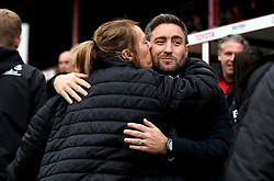Bristol City head coach Lee Johnson receives a kiss from a member of the Barnsley staff - Mandatory by-line: Robbie Stephenson/JMP - 29/10/2016 - FOOTBALL - Oakwell Stadium - Barnsley, England - Barnsley v Bristol City - Sky Bet Championship