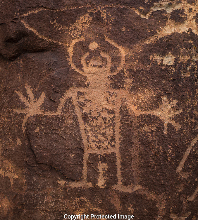 Dry Fork Canyon, Petroglyph, Vernal Classic Fremont style, Navajo Formation Sandstone, McKonkie Ranch, near Vernal, Utah