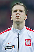 Poland's goalkeeper Wojciech Szczesny before international friendly soccer match between Poland and Scotland at National Stadium in Warsaw on March 5, 2014.<br /> <br /> Poland, Warsaw, March 5, 2014<br /> <br /> Picture also available in RAW (NEF) or TIFF format on special request.<br /> <br /> For editorial use only. Any commercial or promotional use requires permission.<br /> <br /> Mandatory credit:<br /> Photo by &copy; Adam Nurkiewicz / Mediasport