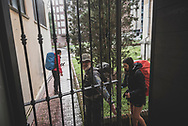 After eating breakfast, pilgrims depart the Albergue de peregrinos Emaús in Burgos, Spain.  (June 12, 2018)<br /> <br /> DAY 16: STAYED IN BURGOS