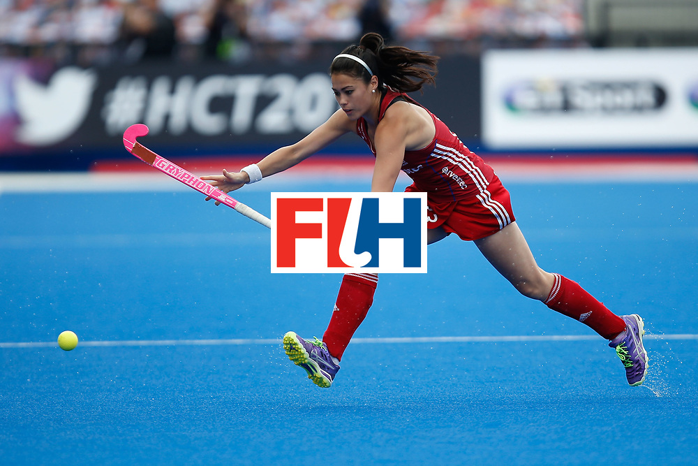 LONDON, ENGLAND - JUNE 19:  Sam Quek of Great Britain during controls a pass the FIH Women's Hockey Champions Trophy 2016 match between the Netherlands and Great Britain at Queen Elizabeth Olympic Park on June 19, 2016 in London, England.  (Photo by Joel Ford/Getty Images)