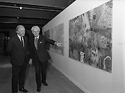 19/08/1988<br /> 08/19/1988<br /> 19 August 1988<br /> Taoiseach visits ROSC '88 at the Guinness Hop Store, Dublin. Taoiseach Charles Haughey listens as Pat Murphy ROSC Chairman, explains an exhibit. Mr Brian Slowey,  Managing Director, Guinness,Ireland on the right.