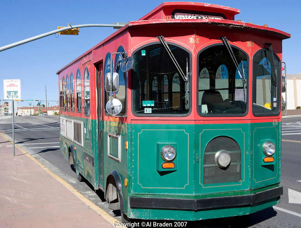 El Paso - Cd. Juarez Trolley in downtown, El Paso, Texas.