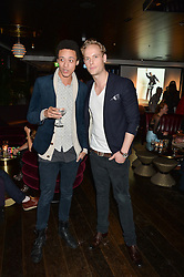 Left to right, PJ EARLE and JACK FOX at a party hosted by Christian Lacroix partnered with Supa Model Management to celebrate London Men's Collections January 2015, held at the Rumpus Room, the roof top bar at the top of the Mondrian London, 20 Upper Ground, London SE1 on 12th January 2015.