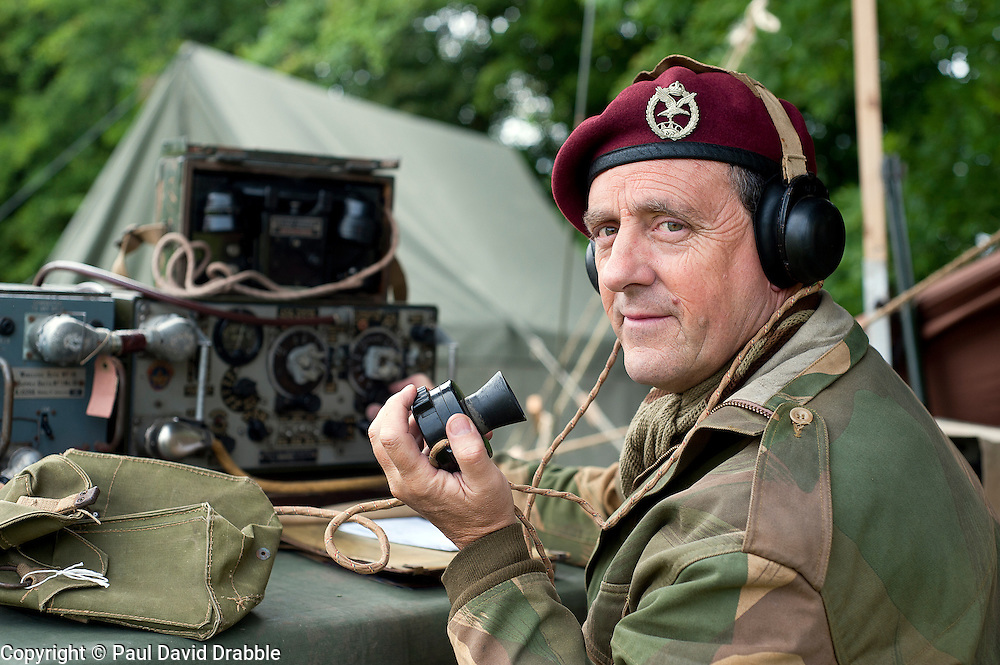 A reenactor portrays a radio operator of the 21st Independent Parachute Company at the Northallerton Wartime Weekend.18th and 19th June  2011.<br /> Image &copy; Paul David Drabble