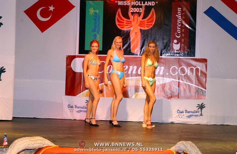 Miss Nederland 2003 reis Turkije, show, jury,